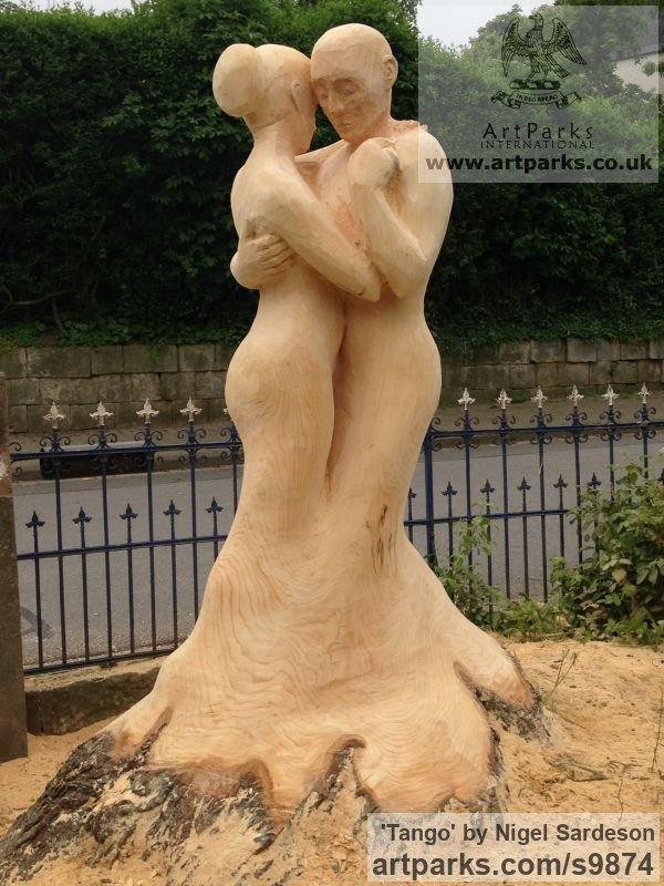 Wood, Lime/linden Garden Or Yard / Outside and Outdoor sculpture by sculptor Nigel Sardeson titled: 'Tango (Dancing Couple Carved Tree Wooden sculpture)'