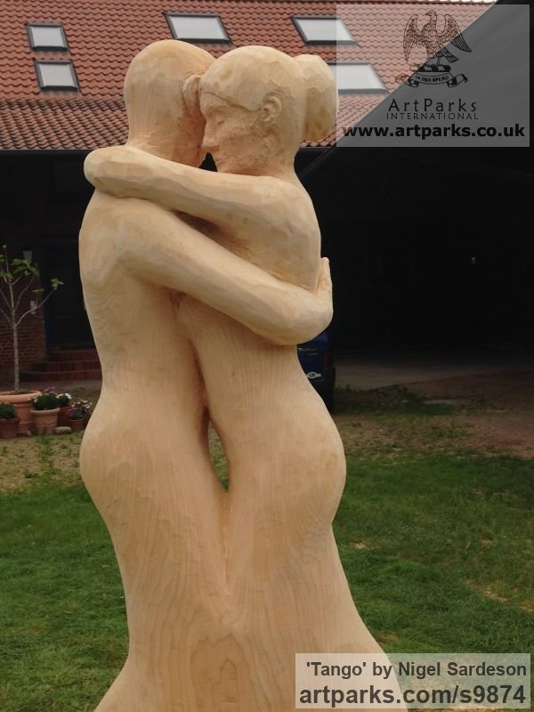 Wood, Lime/linden Garden Or Yard / Outside and Outdoor sculpture by sculptor Nigel Sardeson titled: 'Tango (Dancing Couple Carved Tree Wooden sculpture)' - Artwork View 2