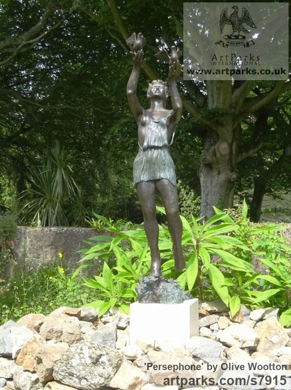 Bronze Garden Or Yard / Outside and Outdoor sculpture by sculptor Olive Wootton titled: 'Persephone' - Artwork View 2