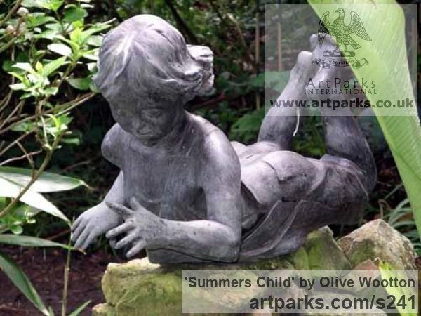 Resin bronze Garden Or Yard / Outside and Outdoor sculpture by sculptor Olive Wootton titled: 'Summers Child (A Grand Child Playing with Water sculpture)'
