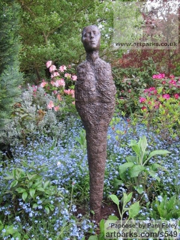 Bronze Animal Abstract Contemporary Modern Stylised Minimalist sculpture by sculptor Pam Foley titled: 'Papoose (Upright Contemporary Bronze Mother Yard statue)'
