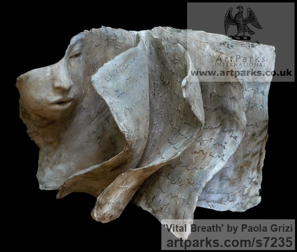 Terracotta Emerging Form or Face or Feature sculpture statuette for sale sculpture by sculptor Paola Grizi titled: 'Vital Breath (abstract Face and Pages and Book and Writing sculpture)'