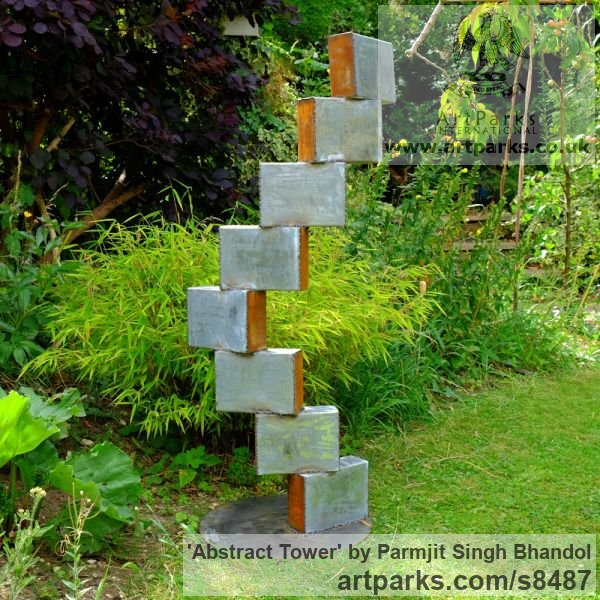 Corten Steel & Galvanised Steel Abstract Contemporary or Modern Outdoor Outside Exterior Garden / Yard sculpture statuary sculpture by sculptor Parmjit Singh Bhandol titled: 'abstract Tower (contemporary garden statue)' - Artwork View 2