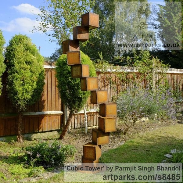 Steel Abstract Contemporary Modern Civic Urban sculpture statuary sculpture by sculptor Parmjit Singh Bhandol titled: 'Cubic Tower (contemporary abstract garden statue)' - Artwork View 1