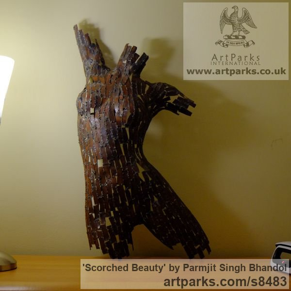 Steel Females Women Girls Ladies sculpture statuettes figurines sculpture by sculptor Parmjit Singh Bhandol titled: 'Scorched Beauty (contemporary nude statue)' - Artwork View 2