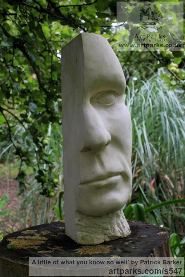 Tervoux Stone Garden Or Yard / Outside and Outdoor sculpture by sculptor Patrick Barker titled: 'A little of what you know so well (Big Head Yard sculpture)' - Artwork View 2