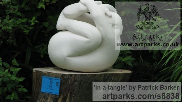 French Limestone Carved or Carving sculpture by sculptor Patrick Barker titled: 'In a tangle (Fun Curled up Man Stone garden statues)' - Artwork View 2
