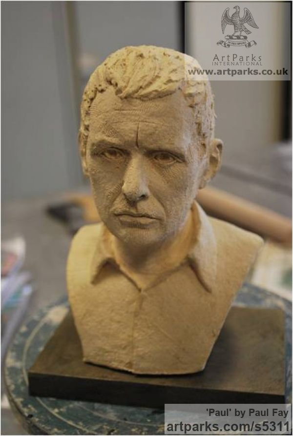 Clay Portrait Sculptures / Commission or Bespoke or Customised sculpture by sculptor Paul Fay titled: 'Paul (Self Portrait ceramic Commission sculpture)'