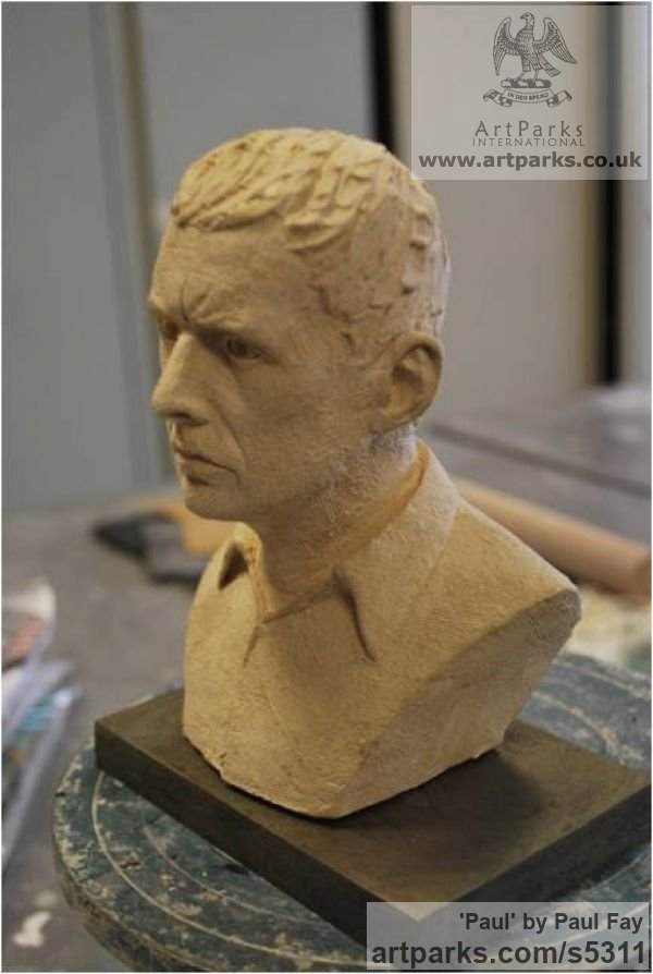 Clay Portrait Sculptures / Commission or Bespoke or Customised sculpture by sculptor Paul Fay titled: 'Paul (Self Portrait ceramic Commission sculpture)' - Artwork View 2