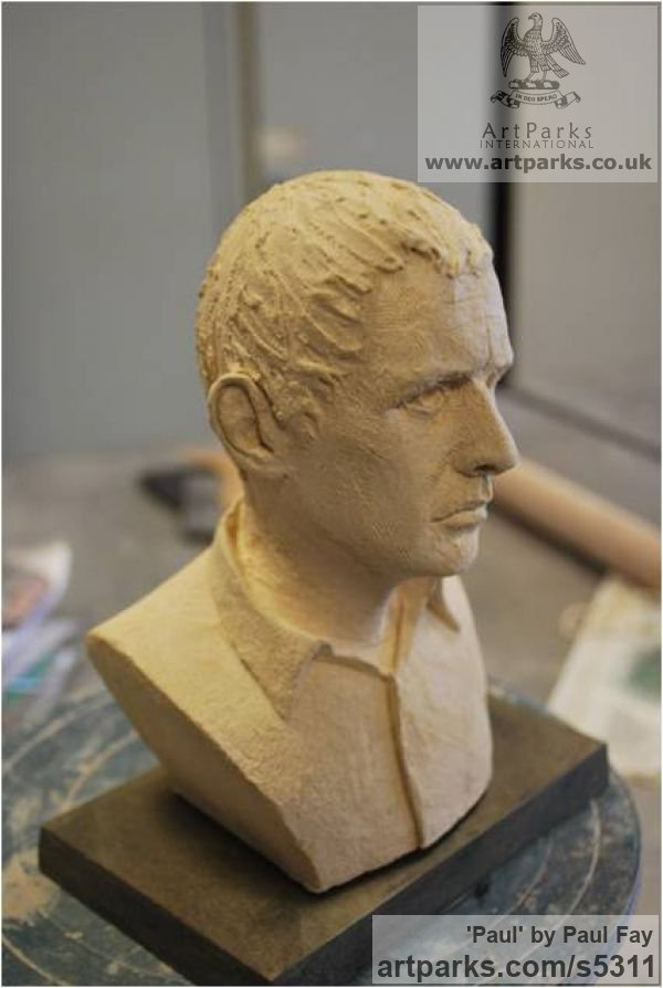 Clay Portrait Sculptures / Commission or Bespoke or Customised sculpture by sculptor Paul Fay titled: 'Paul (Self Portrait ceramic Commission sculpture)' - Artwork View 3