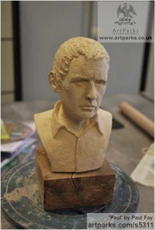 Clay Portrait Sculptures / Commission or Bespoke or Customised sculpture by sculptor Paul Fay titled: 'Paul (Self Portrait ceramic Commission sculpture)' - Artwork View 4