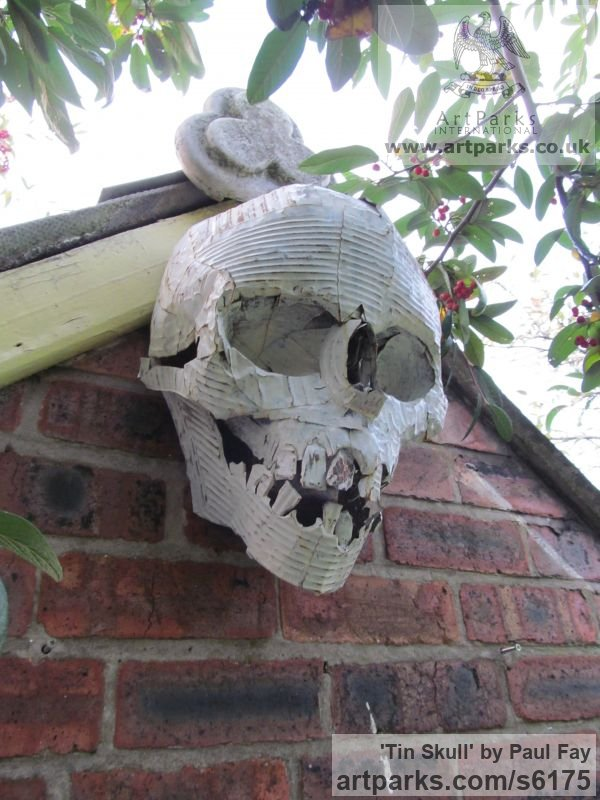 Tin Wall Mounted or Wall Hanging sculpture by sculptor Paul Fay titled: 'Tin Skull (Tin Can fabricated and Painted Wall Human Mask/sculptures)'