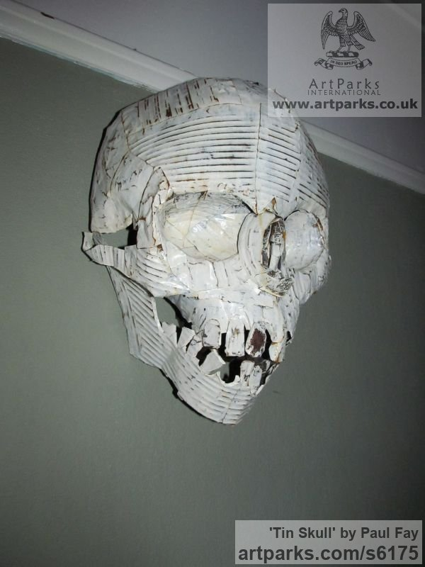 Tin Wall Mounted or Wall Hanging sculpture by sculptor Paul Fay titled: 'Tin Skull (Tin Can fabricated and Painted Wall Human Mask/sculptures)' - Artwork View 2