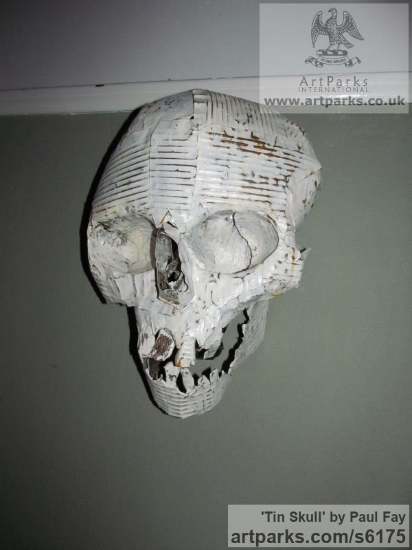 Tin Wall Mounted or Wall Hanging sculpture by sculptor Paul Fay titled: 'Tin Skull (Tin Can fabricated and Painted Wall Human Mask/sculptures)' - Artwork View 3