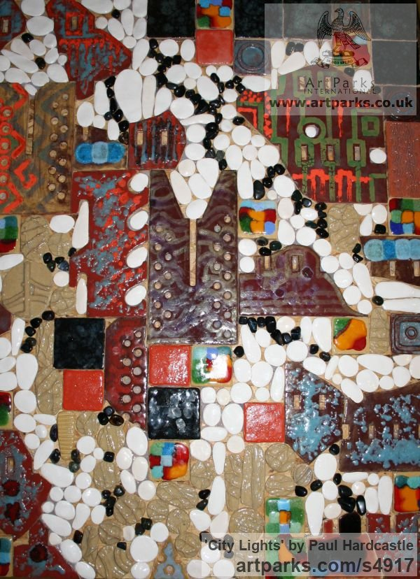Ceramic Wall Mounted or Wall Hanging sculpture by sculptor Paul Hardcastle titled: 'City Lights (abstract Mosaic ceramic Wall Panel Decoration/Art)' - Artwork View 1