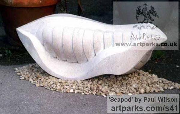 Derbyshire Limestone Abstract Contemporary Modern Outdoor Outside Garden / Yard sculpture statuary sculpture by sculptor Paul Wilson titled: 'Seapod (Small Carved stone Contemporary abstract garden sculptures)'