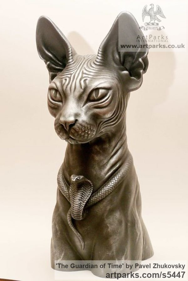 Options: Bronze casting. Bronze resin. T Cats Wild and Big Cats sculpture by sculptor Pavel Zhukovsky titled: 'The Guardian of Time (Egyptian Cat Bust/Head statue)' - Artwork View 2