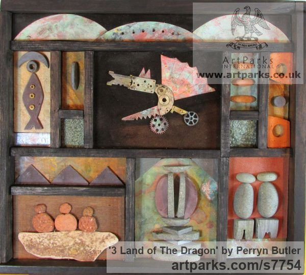 Mixed natural materials Wall Mounted or Wall Hanging sculpture by sculptor Perryn Butler titled: '3 Land of The Dragon (Naive Assemblage Colage statue)'