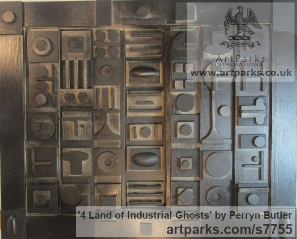 Painted wood Collage sculpture by sculptor Perryn Butler titled: '4 Land of Industrial Ghosts (Abstracrt Rectangular hanging)'