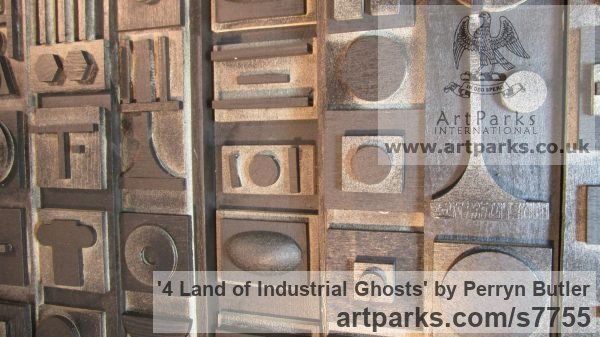 Painted wood Collage sculpture by sculptor Perryn Butler titled: '4 Land of Industrial Ghosts (Abstracrt Rectangular hanging)' - Artwork View 3