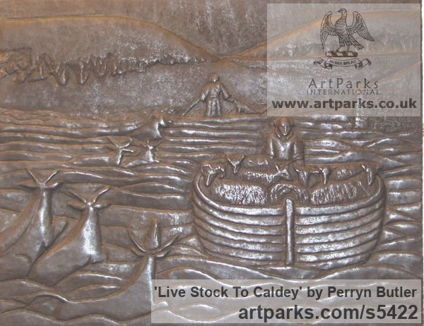 Bronze Resin in a wooden frame Wall Mounted or Wall Hanging sculpture by sculptor Perryn Butler titled: 'Life Stock To Caldey (Low Relief Sheep Wall Plaque sculpture)'