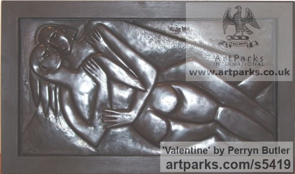 Bronze Resin in a wooden frame Wall Mounted or Wall Hanging sculpture by sculptor Perryn Butler titled: 'Valentine (Young Naked Lovers abstract statuettes)' - Artwork View 2