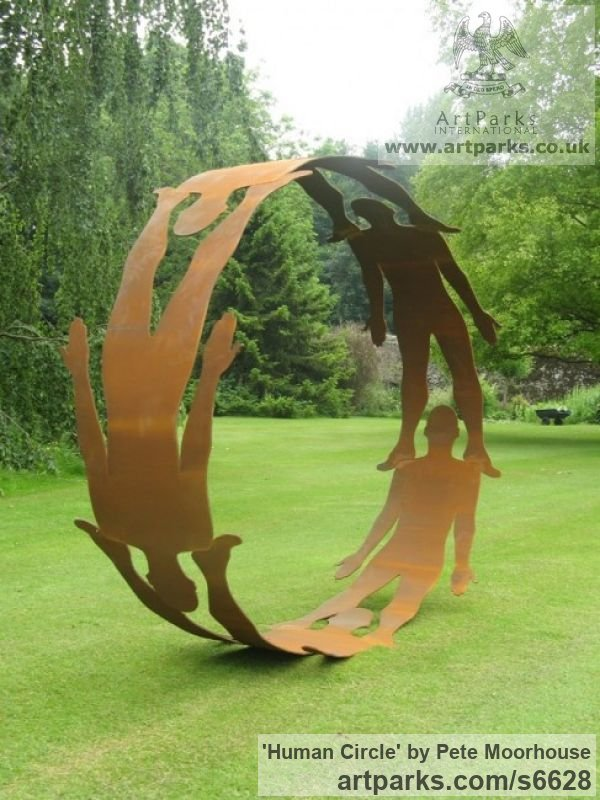 Steel Abstract Contemporary Modern Outdoor Outside Garden / Yard sculpture statuary sculpture by sculptor Pete Moorhouse titled: 'Human Circle (Cut Out Silohuet Circular Hoop Steel Human Yard statue)' - Artwork View 2