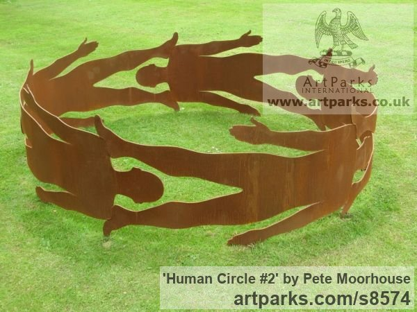 Steel Abstract Contemporary or Modern Outdoor Outside Exterior Garden / Yard sculpture statuary sculpture by sculptor Pete Moorhouse titled: 'Human Circle #2'