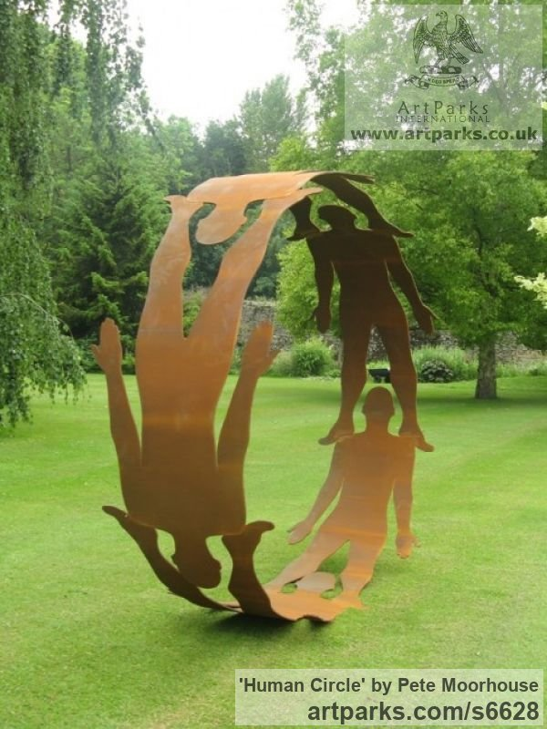 Steel Abstract Contemporary Modern Outdoor Outside Garden / Yard sculpture statuary sculpture by sculptor Pete Moorhouse titled: 'Human Circle (Cut Out Silohuet Circular Hoop Steel Human Yard statue)' - Artwork View 4