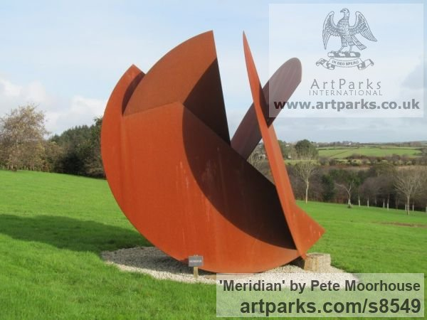 Corten Steel Garden Or Yard / Outside and Outdoor sculpture by sculptor Pete Moorhouse titled: 'Meridian' - Artwork View 1