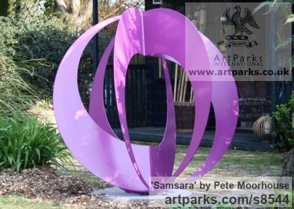 Steel Garden Or Yard / Outside and Outdoor sculpture by sculptor Pete Moorhouse titled: 'Samsara (Contemporary Coloured Steel Loop statues)'