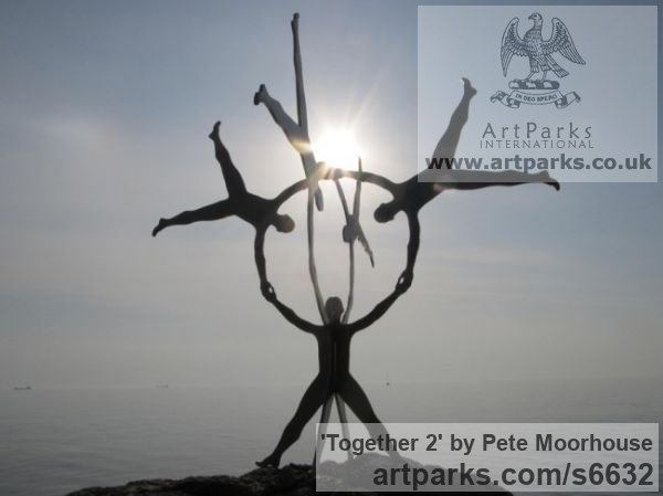 Steel Abstract Contemporary Modern Outdoor Outside Garden / Yard sculpture statuary sculpture by sculptor Pete Moorhouse titled: 'Together 2 (Massive Big Outdoors Outside Contemporary abstract statue)'