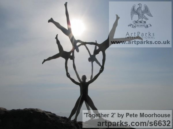 Steel Abstract Contemporary Modern Outdoor Outside Garden / Yard sculpture statuary sculpture by sculptor Pete Moorhouse titled: 'Together 2 (Massive Big Outdoors Outside Contemporary abstract statue)' - Artwork View 4