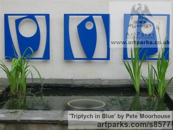 Stove enamelled Steel Abstract Contemporary Modern Outdoor Outside Garden / Yard sculpture statuary sculpture by sculptor Pete Moorhouse titled: 'Triptych in Blue (abstract Wall Modern sculptures)' - Artwork View 1