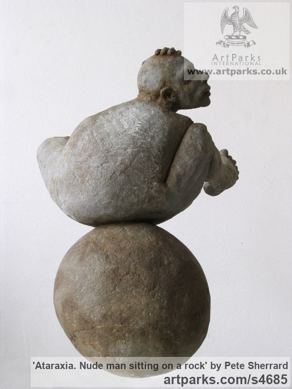 Ash resin, stone base Male Men Youths Masculine sculpturettes figurines sculpture by sculptor Pete Sherrard titled: 'Ataraxia (SmallContented nude Man Sitting statues)' - Artwork View 3