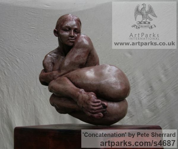 Ash resin, bamboo base. Females Women Girls Ladies sculpture statuettes figurines sculpture by sculptor Pete Sherrard titled: 'Concatenation (Lovely nude Sinuous Woman sculptures)' - Artwork View 3