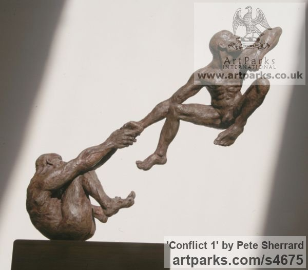 Ash resin Sculpture of Men by artist Pete Sherrard titled: 'Conflict 1 (Naked Men Swinging Emotions sculptures)' - Artwork View 2