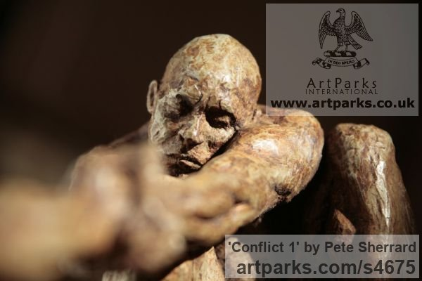 Ash resin Sculpture of Men by artist Pete Sherrard titled: 'Conflict 1 (Naked Men Swinging Emotions sculptures)' - Artwork View 3