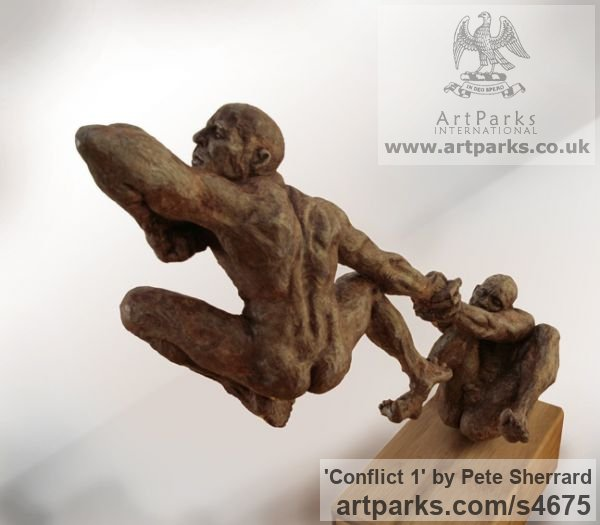 Ash resin Sculpture of Men by artist Pete Sherrard titled: 'Conflict 1 (Naked Men Swinging Emotions sculptures)' - Artwork View 4