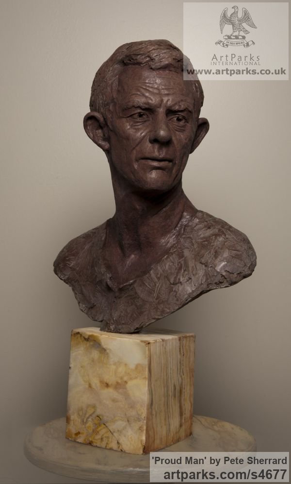 Ash Resin Portrait Sculptures / Commission or Bespoke or Customised sculpture by sculptor Pete Sherrard titled: 'Proud Man (Commission Male Portrait Bust sculptures)'