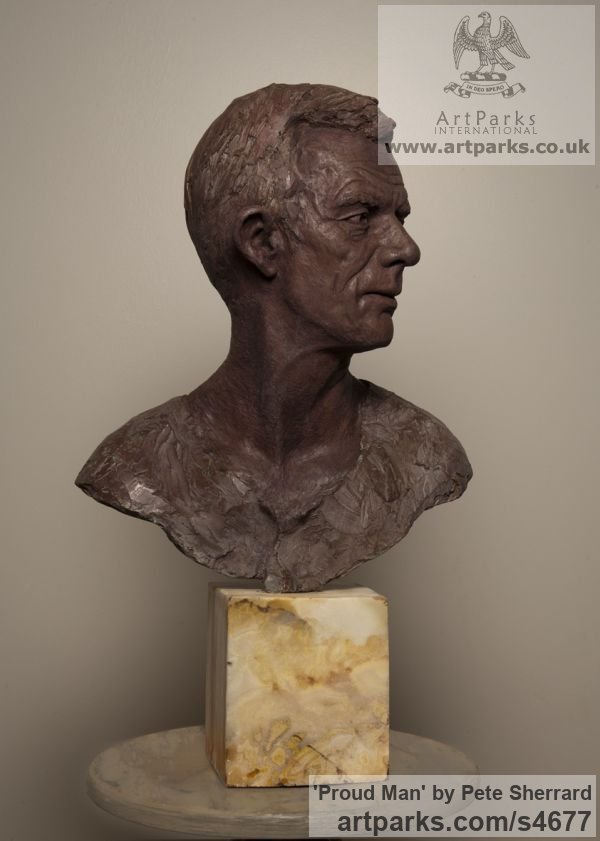 Ash Resin Portrait Sculptures / Commission or Bespoke or Customised sculpture by sculptor Pete Sherrard titled: 'Proud Man (Commission Male Portrait Bust sculptures)' - Artwork View 2