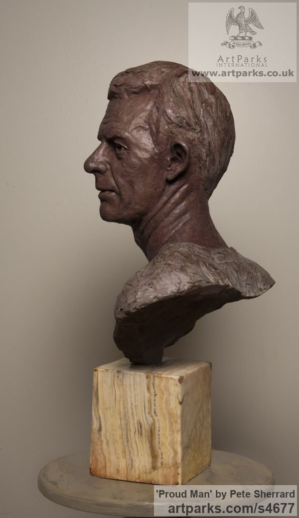 Ash Resin Portrait Sculptures / Commission or Bespoke or Customised sculpture by sculptor Pete Sherrard titled: 'Proud Man (Commission Male Portrait Bust sculptures)' - Artwork View 3