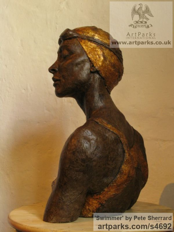 Ash resin, Portrait Sculptures / Commission or Bespoke or Customised sculpture by sculptor Pete Sherrard titled: 'Swimmer (resin Portrait Bust of female sculptures)'