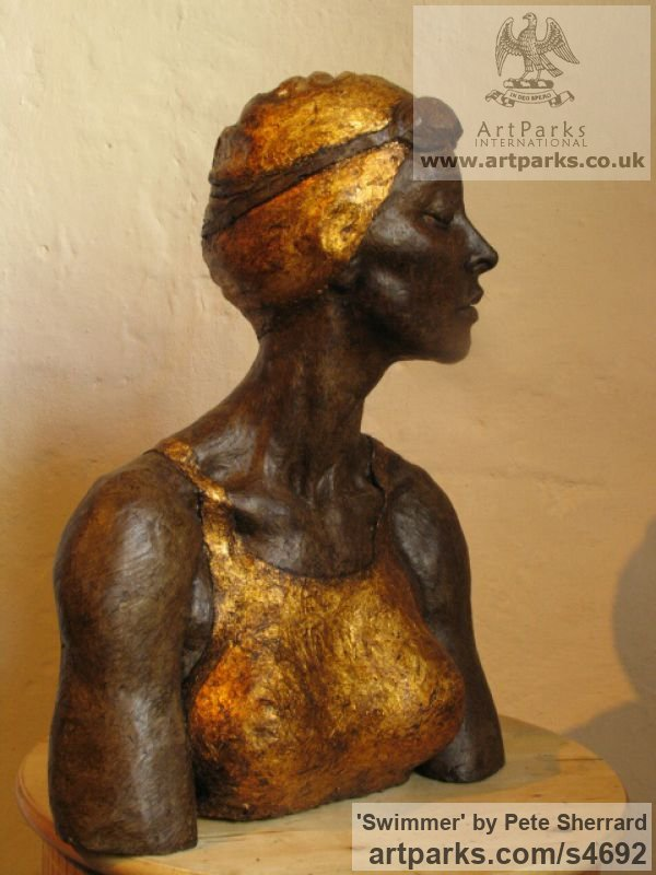 Ash resin, Portrait Sculptures / Commission or Bespoke or Customised sculpture by sculptor Pete Sherrard titled: 'Swimmer (resin Portrait Bust of female sculptures)' - Artwork View 2