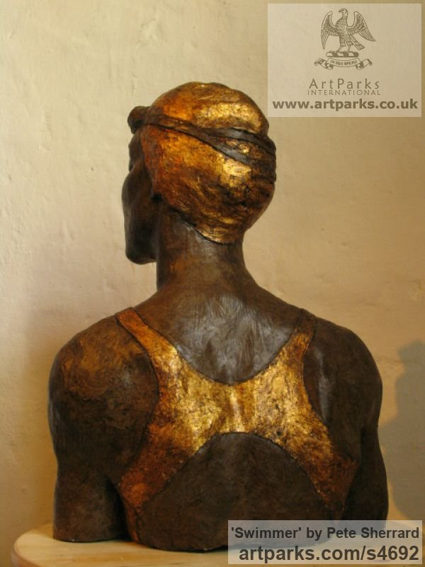 Ash resin, Portrait Sculptures / Commission or Bespoke or Customised sculpture by sculptor Pete Sherrard titled: 'Swimmer (resin Portrait Bust of female sculptures)' - Artwork View 3