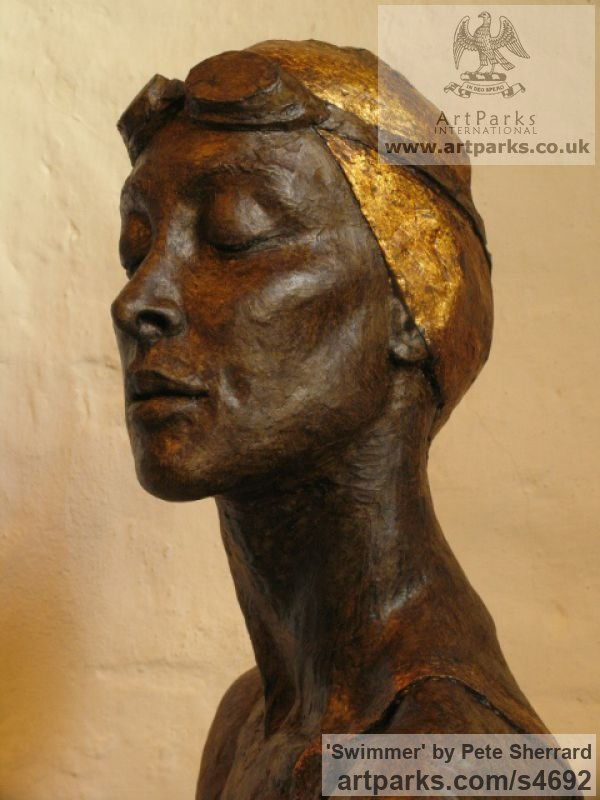 Ash resin, Portrait Sculptures / Commission or Bespoke or Customised sculpture by sculptor Pete Sherrard titled: 'Swimmer (resin Portrait Bust of female sculptures)' - Artwork View 4