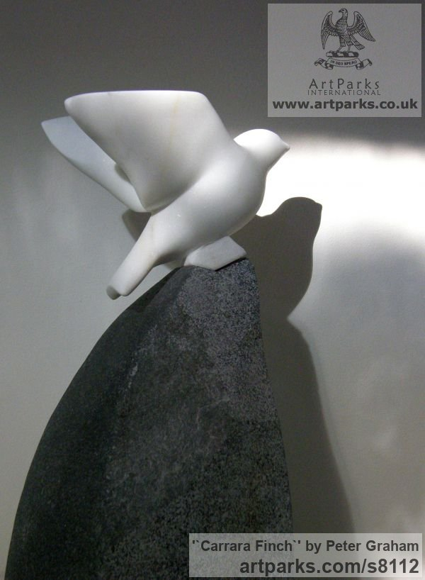 Carrara Marble. Granite Primitive Naive sculpture carving casting sculpture by sculptor Peter Graham titled: '`Carrara Finch` (Carved marble garden Bird Taking Off statuette)' - Artwork View 2
