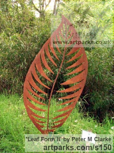 Mild Steel Garden Or Yard / Outside and Outdoor sculpture by sculptor Peter M Clarke titled: 'Leaf Form II (Big Contemporary Metal Leaf garden/Yard statue/sculpture)'