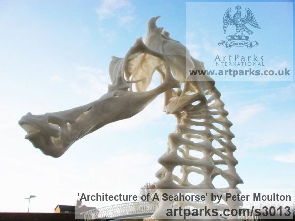 Polyester resin Wild Animals and Wild Life sculpture by sculptor Peter Moulton titled: 'Architecture of a Seahorse (garden Large sculptures)' - Artwork View 4