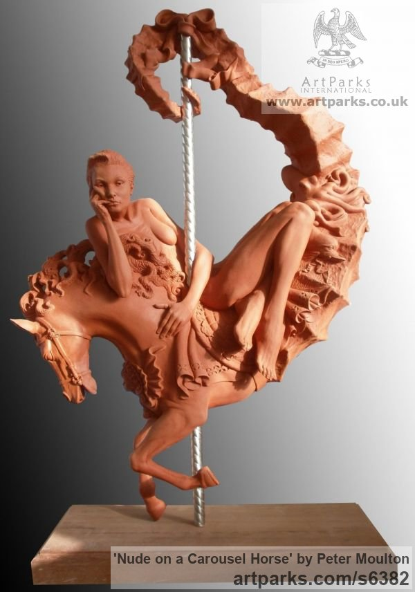 Resin with Terracotta Horse Sculpture / Equines Race Horses Pack HorseCart Horses Plough Horsess sculpture by sculptor Peter Moulton titled: 'nude on a Carousel Horse (Thinking nude/Naked Girl statue/statuette)'